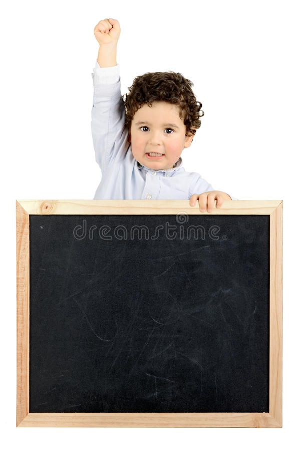 Boy with board stock photo