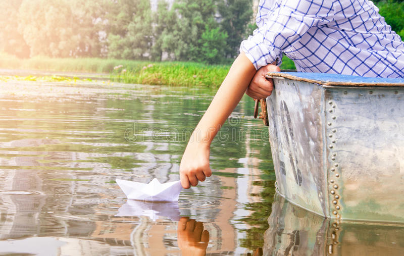 Boy on the boat stock photography