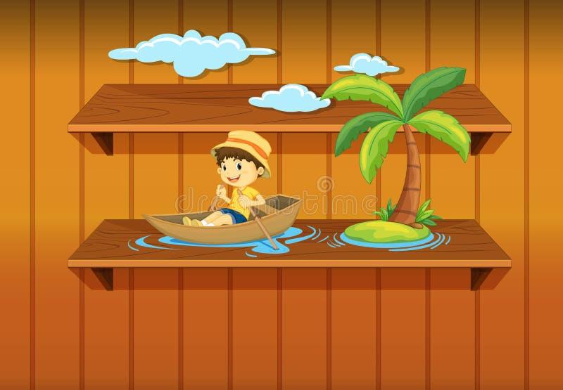 Download Boy boating on shelf stock illustration. Image of boating - 25385729