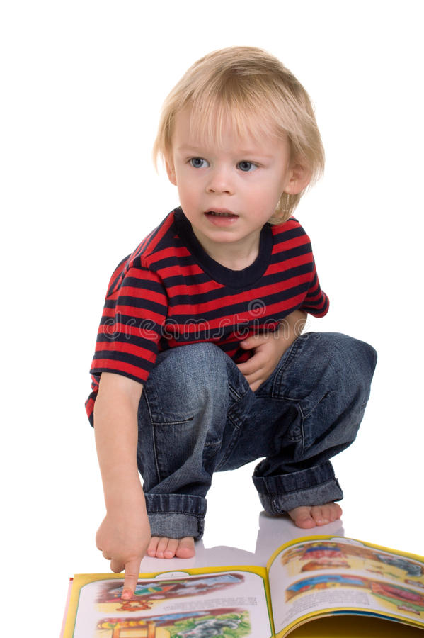 Download Boy and book stock image. Image of cute, studio, caucasian - 22333941