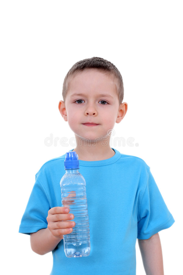 Boy and bottle of water royalty free stock photo