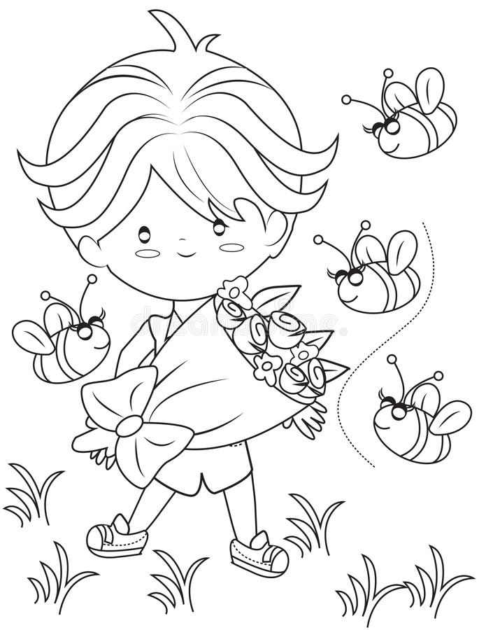 Boy With A Bouquet Of Flowers Coloring Page Stock Illustration