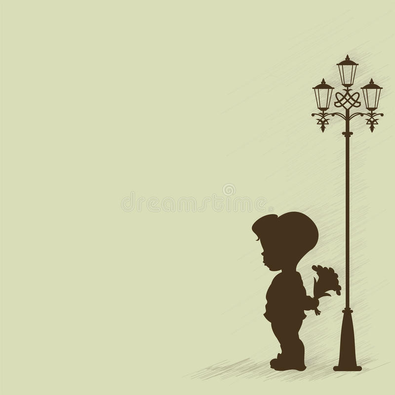 Boy with a bouquet of standing under a street lamp. Silhouette. EPS 8 vector illustration
