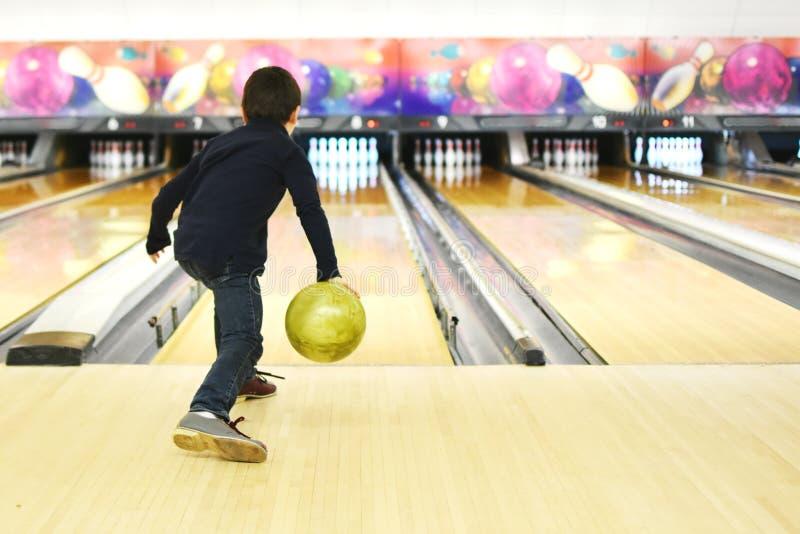 Boy Bowling royalty free stock photo