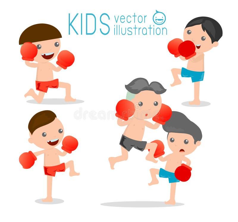 Boy boxer isolated on white background,thai boxing vector illustration