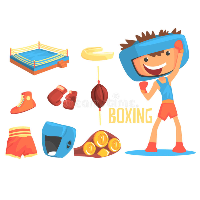 Boy Boxer, Kids Future Dream Professional Boxing Sportive Career Illustration With Related To Profession Objects stock illustration