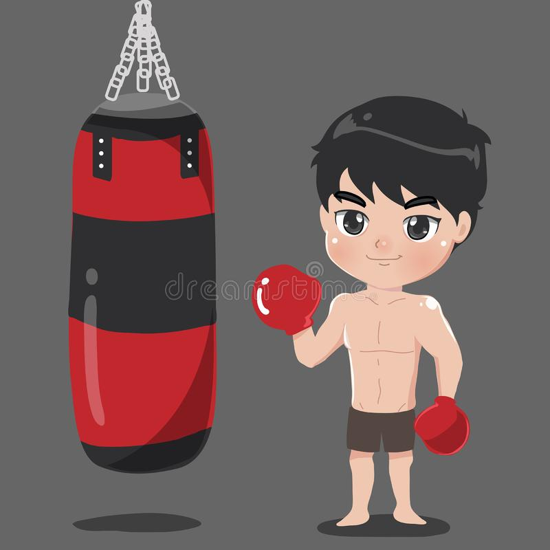 Boy boxer with punch bag Carrier royalty free illustration