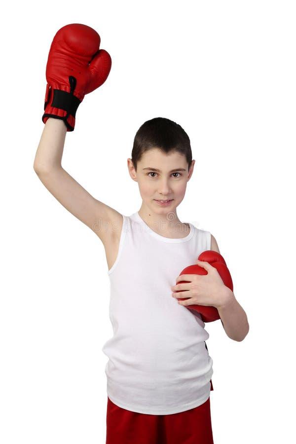 Boy boxer winner stock photo