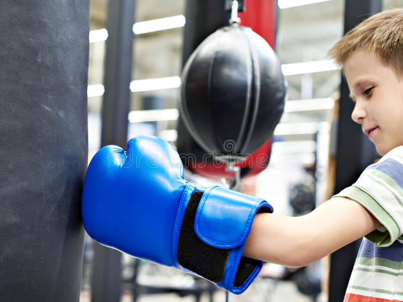 Boy in boxing glove and punching bag. Boy in a boxing glove and punching bag royalty free stock photography