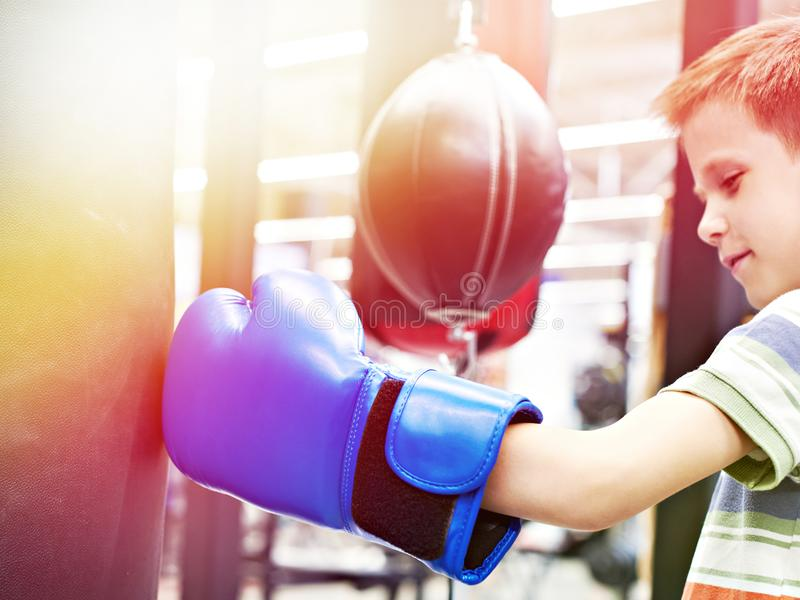 Boy in boxing glove and punching bag. Boy in a boxing glove and punching bag stock images