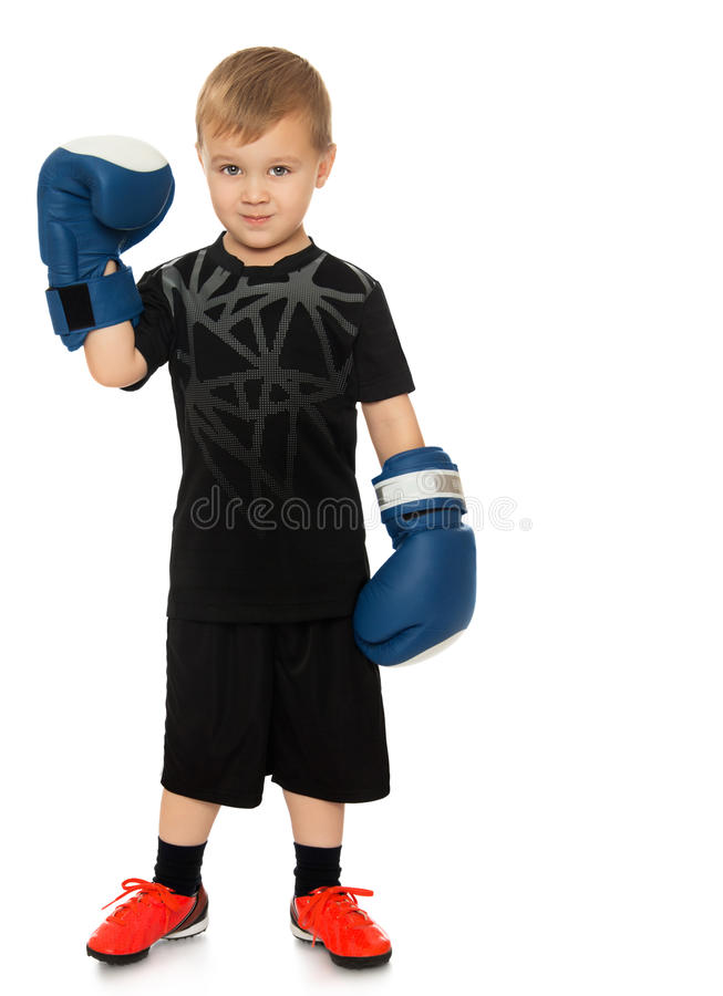 The boy in Boxing gloves. Little blonde boy with Boxing gloves - Isolated on white background royalty free stock photos