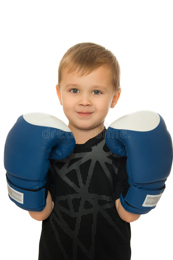 Boy with Boxing gloves. Little boy boxer with Boxing gloves. Close-up - Isolated on white background stock photos