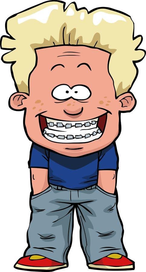 Boy with braces stock illustration