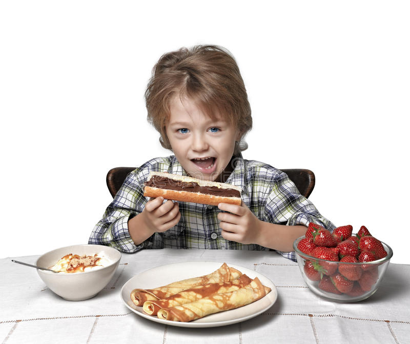 Download Boy at breakfast stock image. Image of healthy, dinner - 22131587