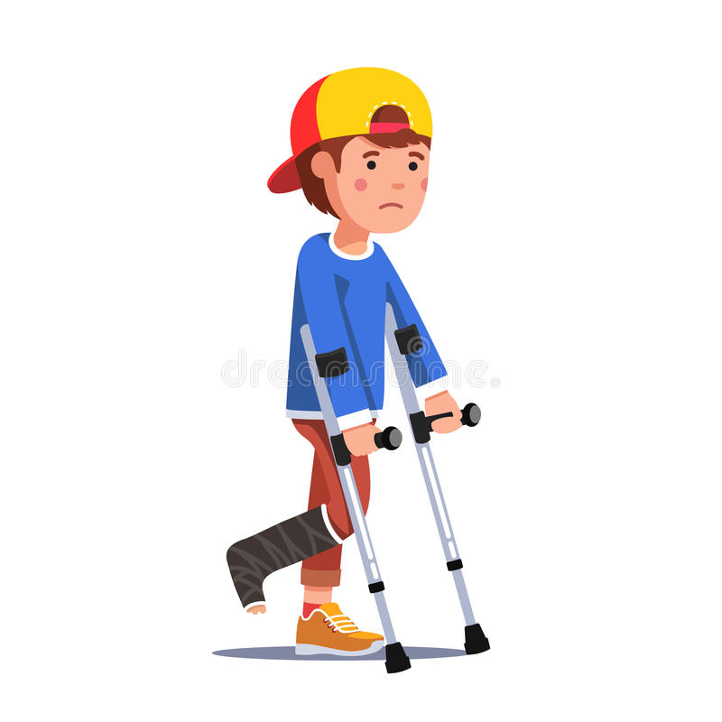 Boy with broken leg bandage walking using crutches. Temporarily disabled sad teenage boy with broken leg bandage cast walking using crutches. Unhappy injured stock illustration