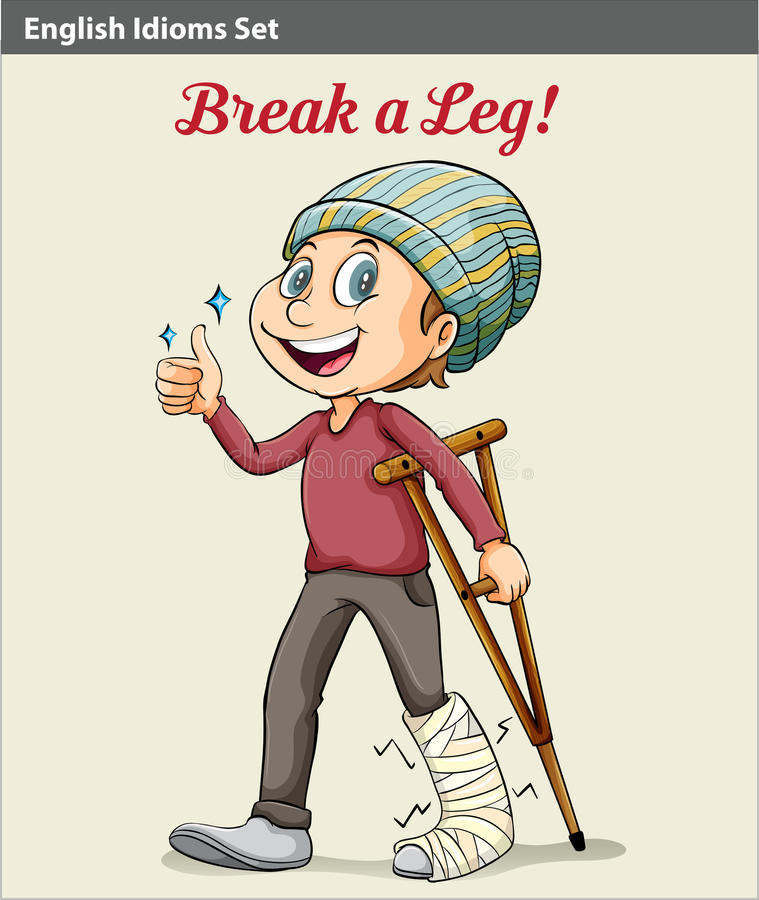 A boy with a broken leg. An idiom showing a boy with a broken leg vector illustration