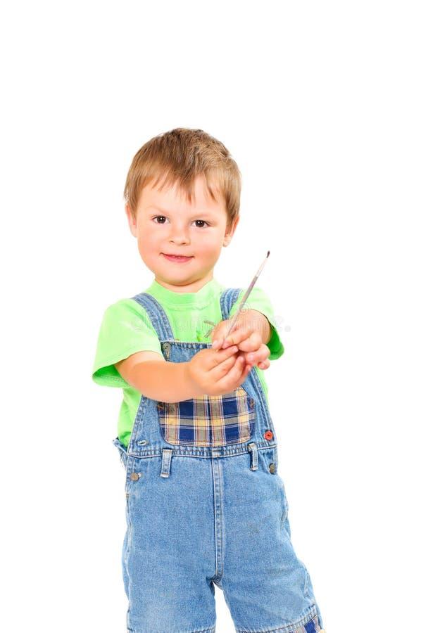 Boy With Brush Royalty Free Stock Photo