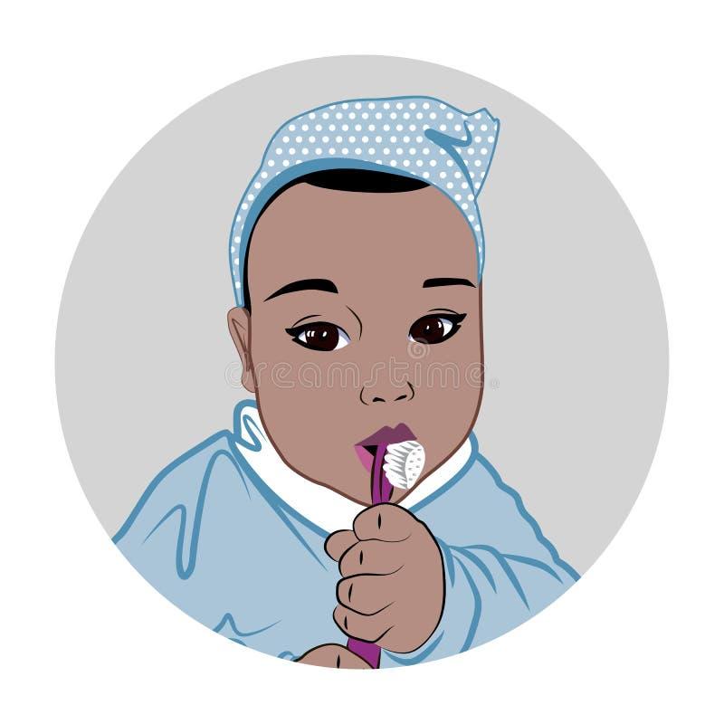 Boy brushing his teeth royalty free illustration
