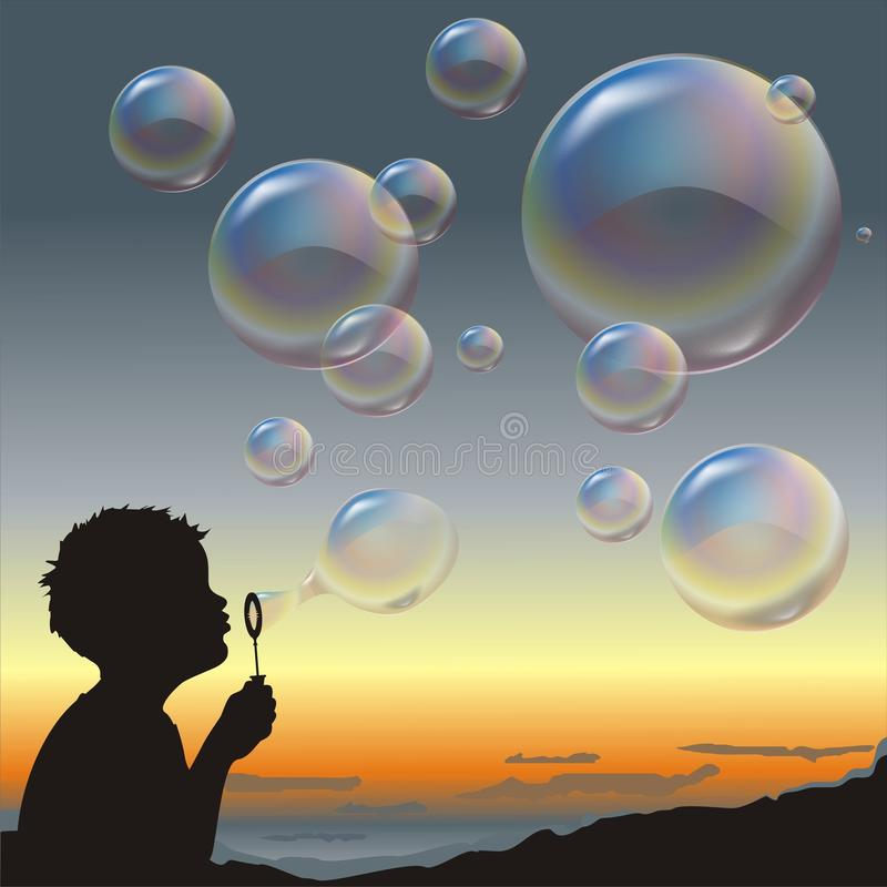 Boy and bubbles. royalty free stock image