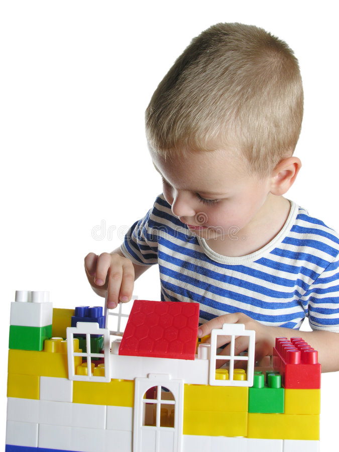 Download Boy build house stock photo. Image of color, cute, house - 281686