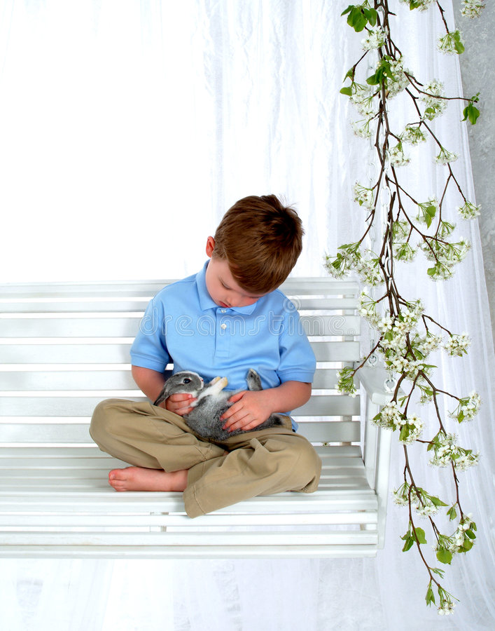 Boy and Bunny on Swing