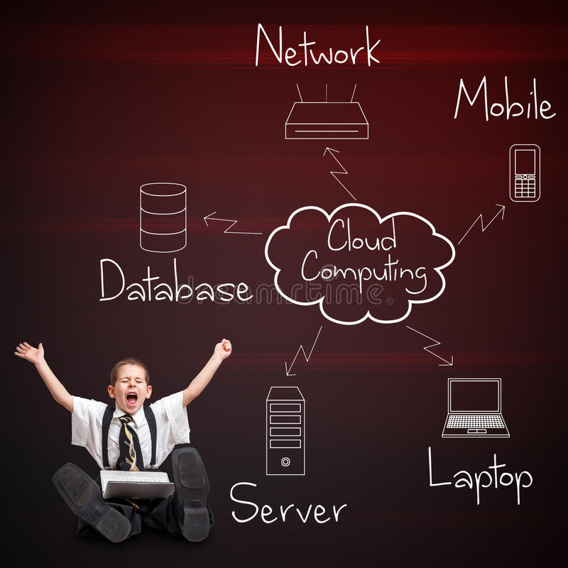 Cloud computing diagram. Boy in business suit with cloud computing diagram stock illustration