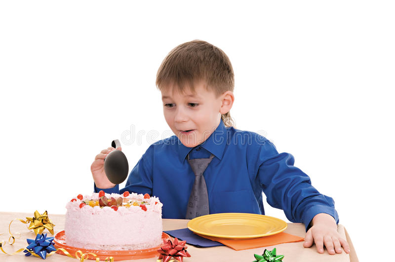 Download Boy with cake stock image. Image of baked, decoration - 23363947