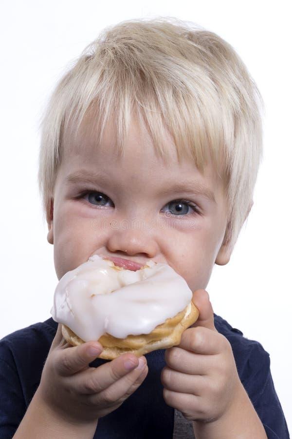 Boy with cake stock photo