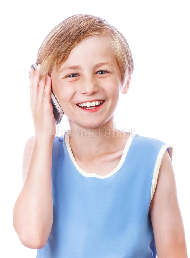 Boy calling phone royalty free stock image