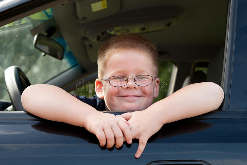 Download Boy car driver stock image. Image of wheel, cute, smiling - 26175997