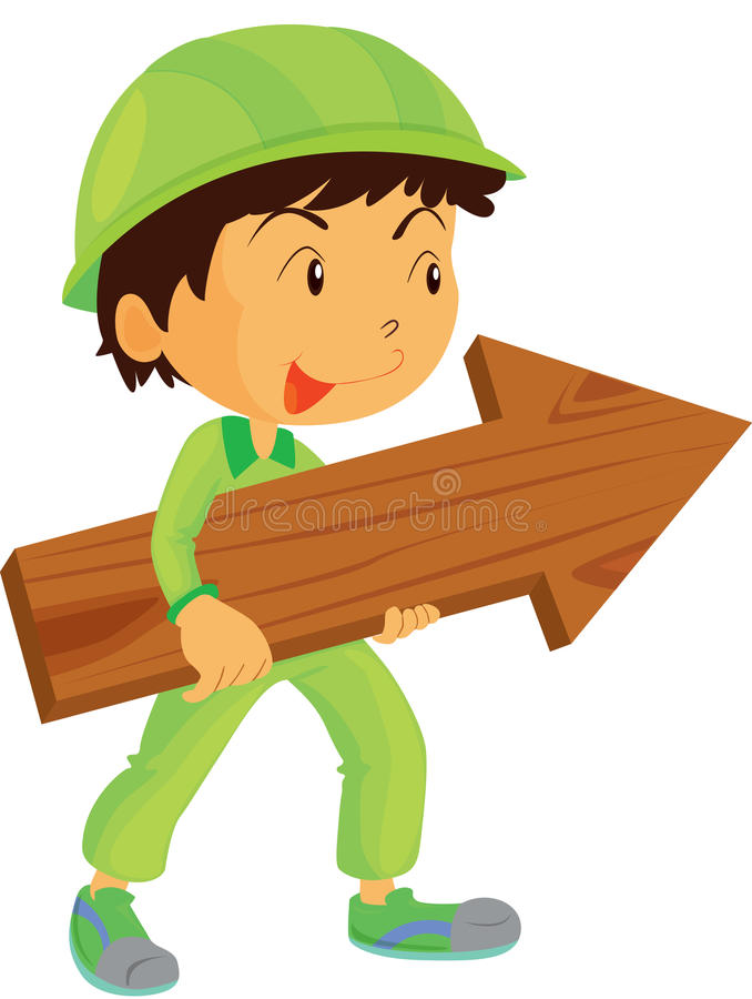 Download A Boy Carrying Arrow stock vector. Image of direction - 15822307