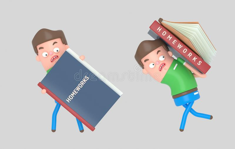 Boy carrying a homework book. 3d illustration. NnIsolate. Easy automatic ization. Easy background remove. Easy color change. Easy combine. 6000x3800 - 300DPI For royalty free stock image