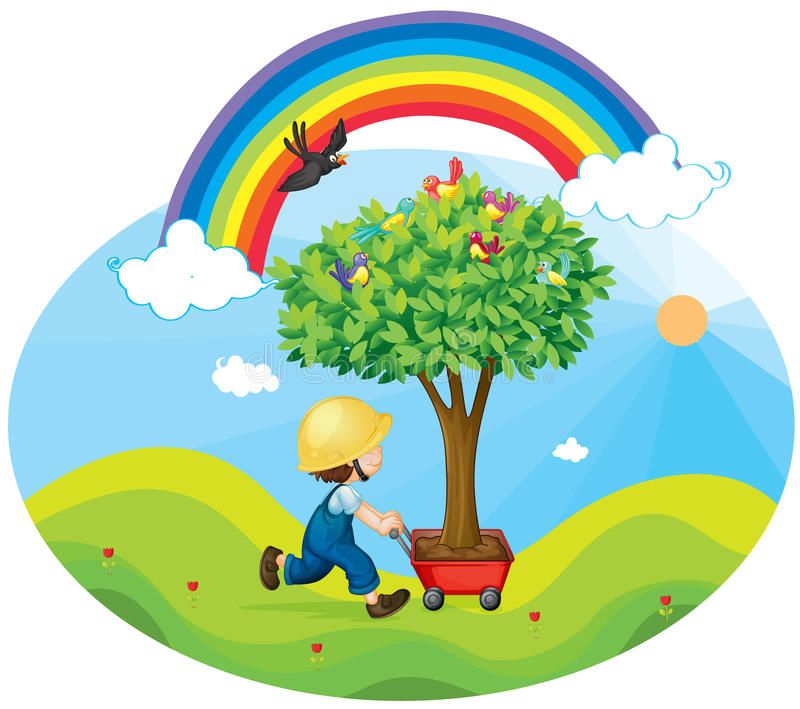 Download Boy Carrying Tree In A Trolley Stock Vector - Image: 26942010