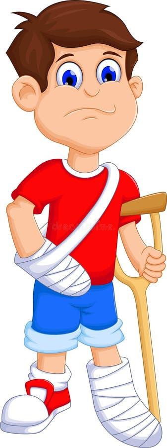 Boy cartoon broken arm and leg vector illustration