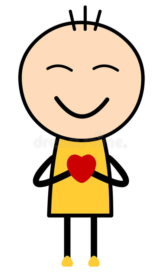 A boy cartoon holding heart feeling loved. royalty free stock photography