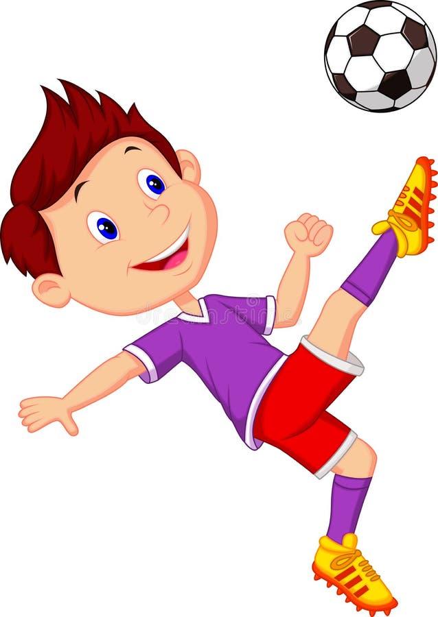 Boy cartoon playing football stock illustration