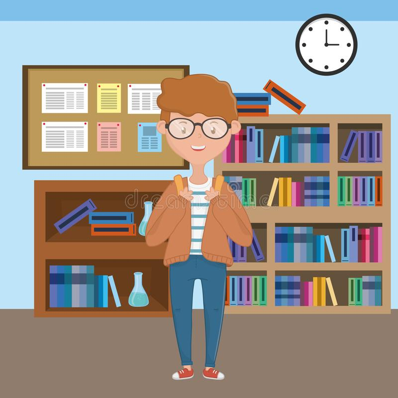 Boy cartoon of school design stock illustration