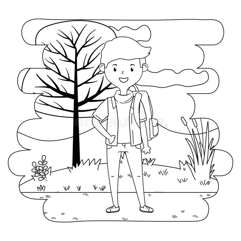 Boy cartoon of school design royalty free illustration