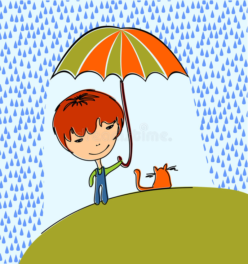 Boy With Cat Royalty Free Stock Images