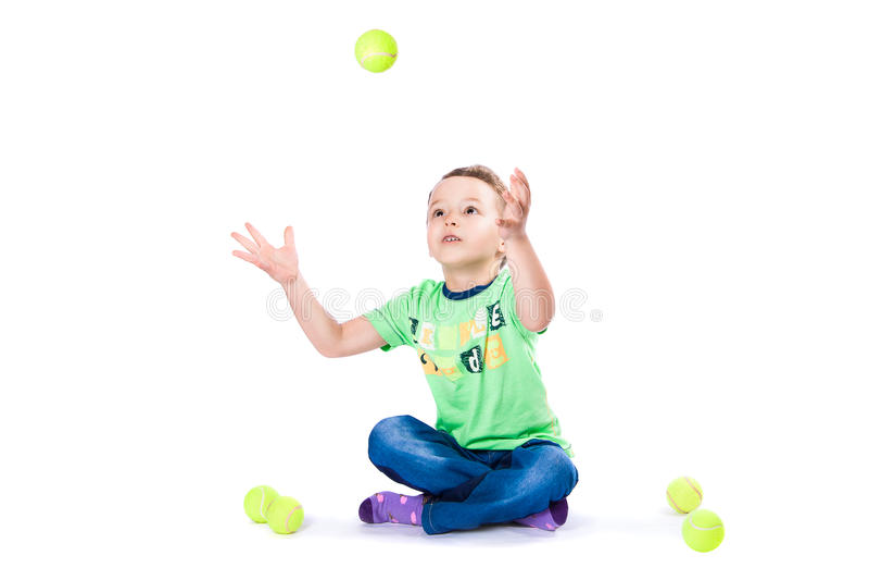 Boy catches the ball royalty free stock photos