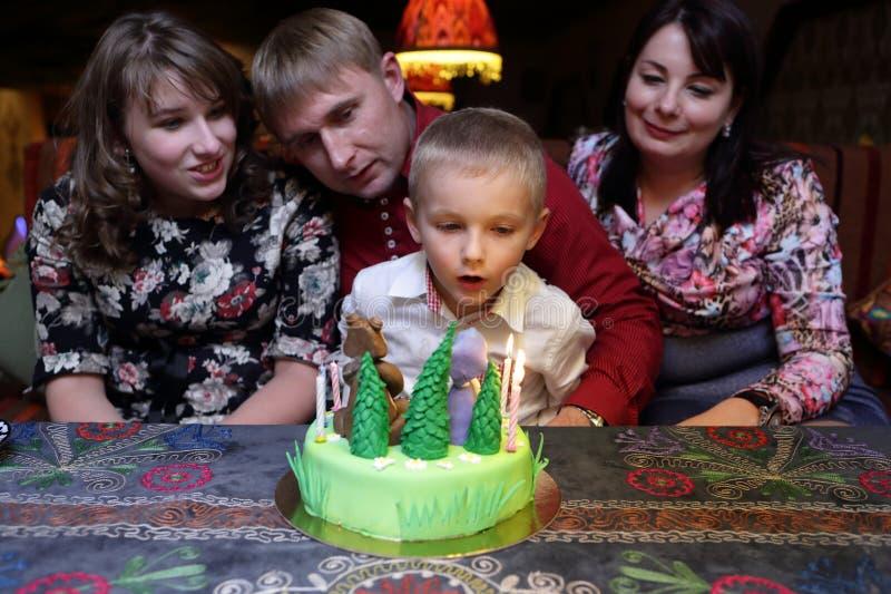 Boy celebrates his birthday royalty free stock images