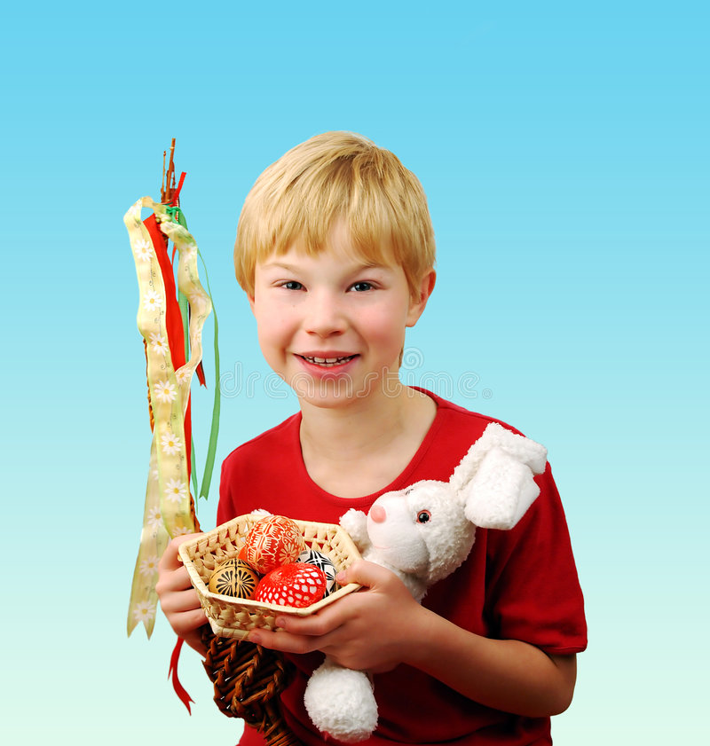 Boy Celebrating Easter Stock Image