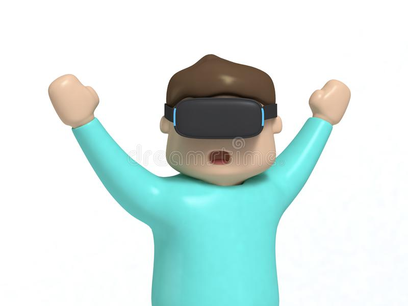Boy character cartoon style hands up excited-funny with VR glasses technology video game concept 3d render vector illustration