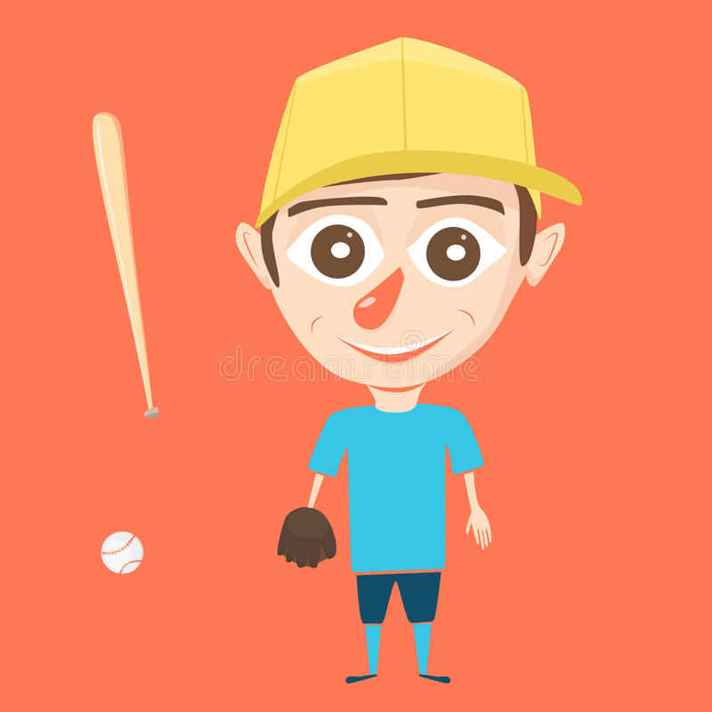 Boy character. Cartoon vector illustration. Isolated background. Baseball player vector illustration