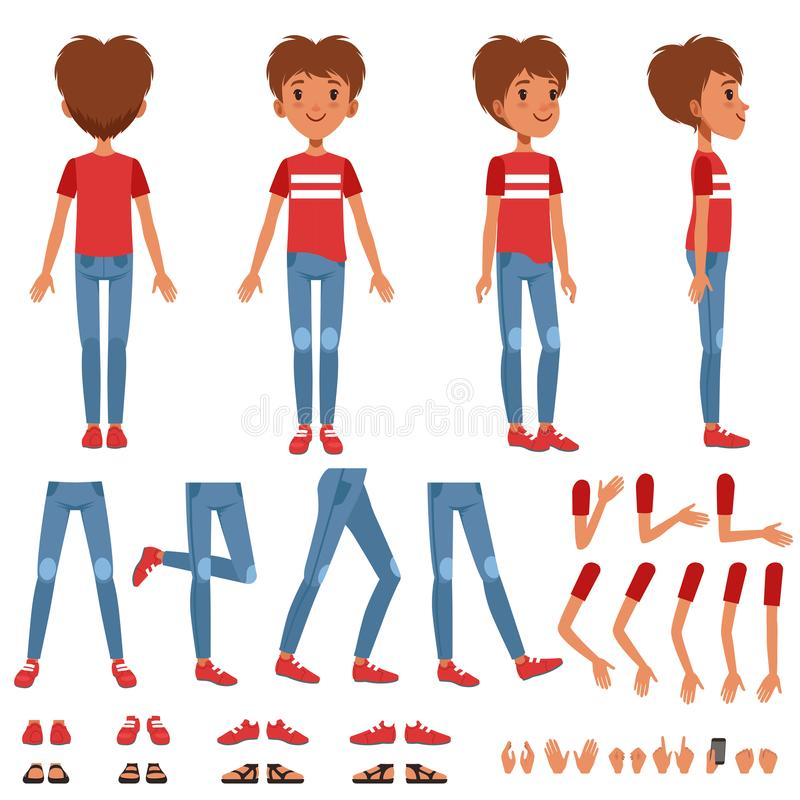 Boy character creation set, cute boy constructor with different poses, gestures, shoes vector Illustrations. On a white background royalty free illustration