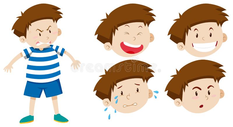 Boy character with facial expression. Illustration vector illustration