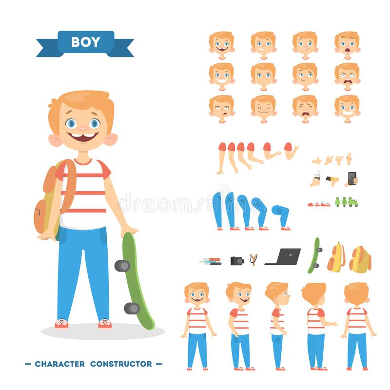 Boy character set. Boy character set with poses and eothions stock illustration