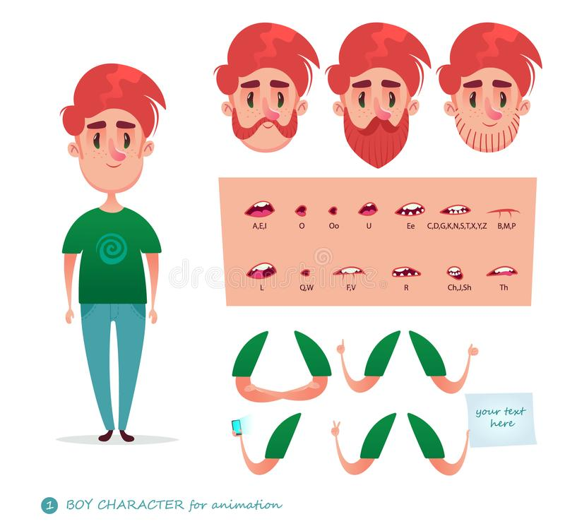 Boy character for your scenes. Parts of body template for design work and animation. Funny cartoon.Vector illustration isolated on white background. Set for stock illustration