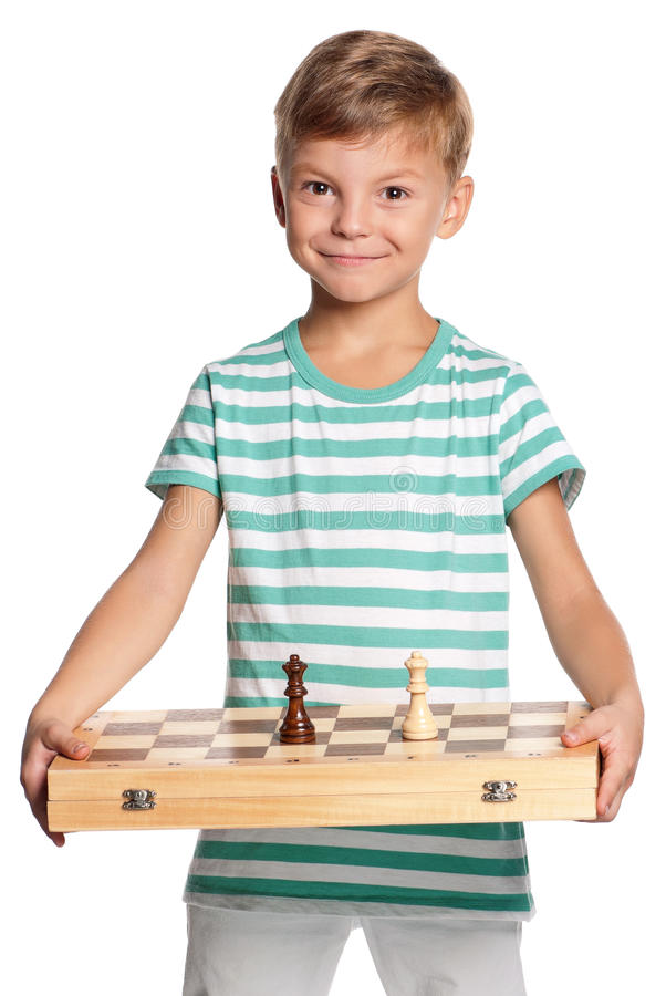 Download Boy with chessboard stock photo. Image of leisure, friendly - 27027118
