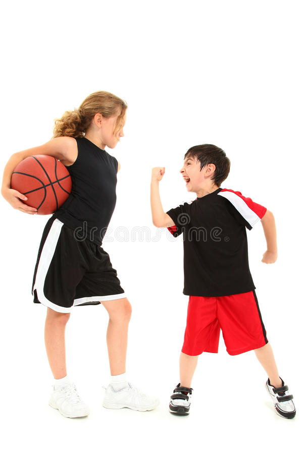 Boy Child Bad Loser Angry at Girl Child stock photo